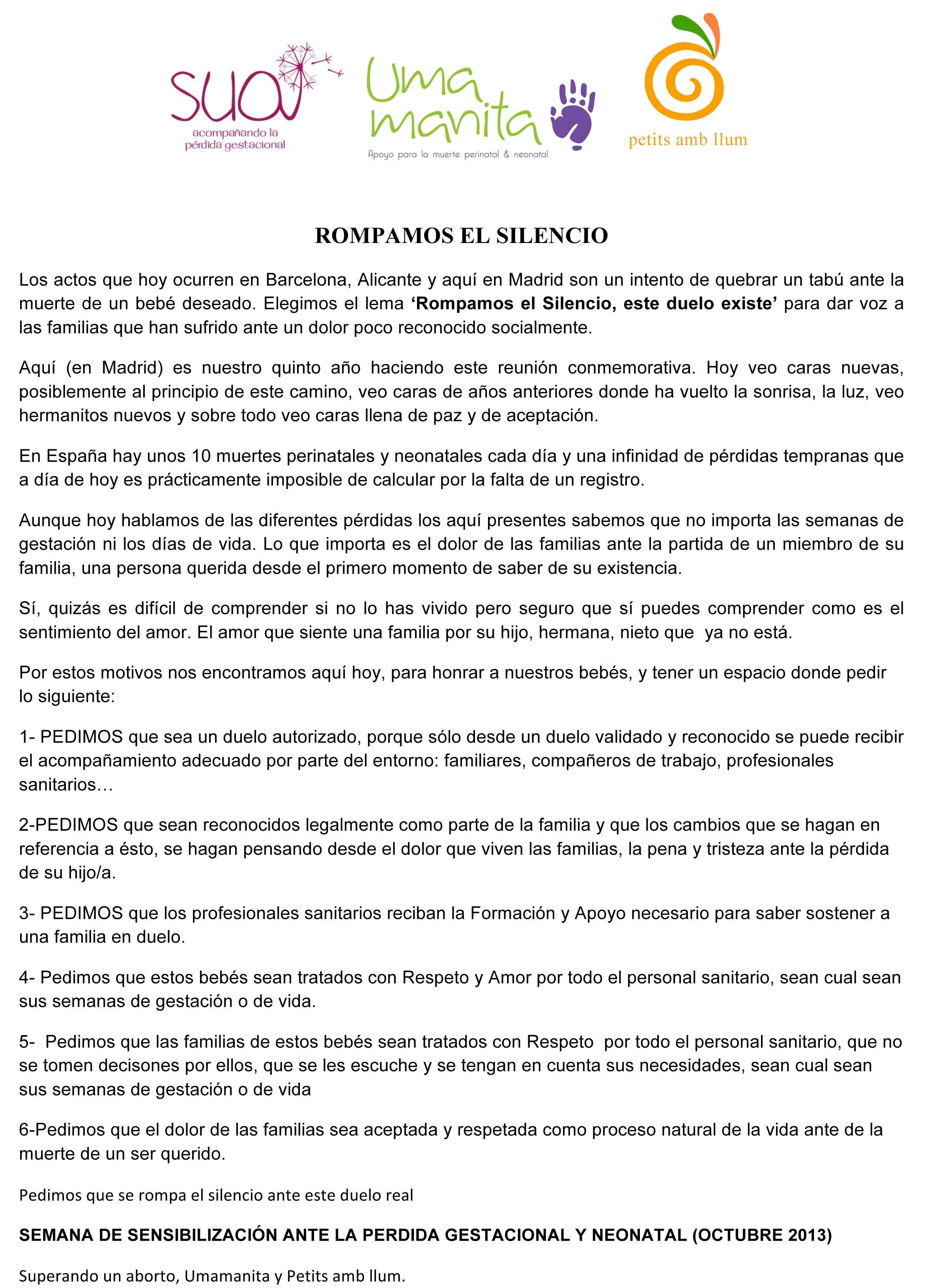 Manifiesto Globos para el Recuerdo 2013